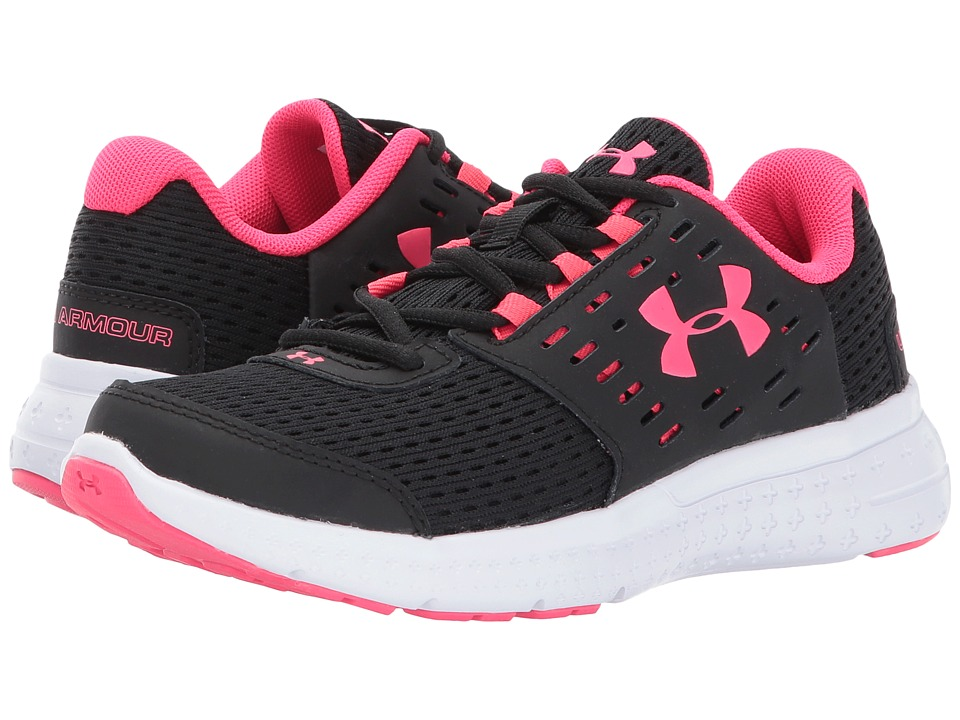 Under Armour Kids UA GPS Micro G Motion (Little Kid) (Black/White/Penta Pink) Girls Shoes