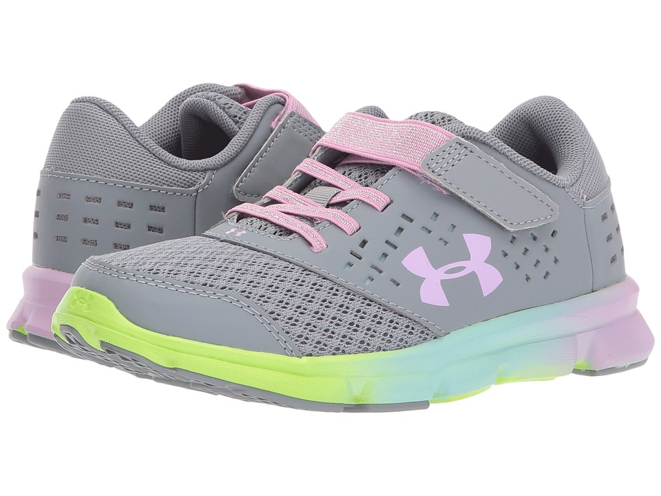 Under Armour Kids UA GPS Rave Run AC Prism (Little Kid) (Steel/Blue Infinity/Icelandic Rose) Girls Shoes
