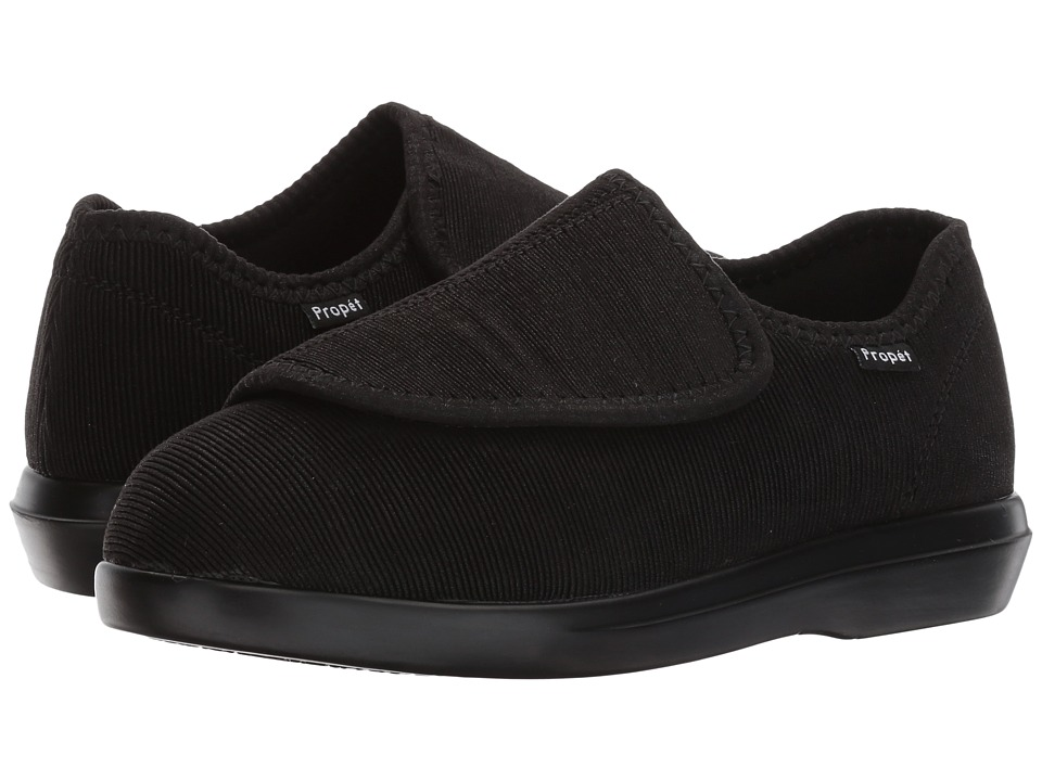 Propet Cush 'n Foot Medicare/HCPCS Code = A5500 Diabetic Shoe (Black Corduroy) Women's Hook and Loop Shoes