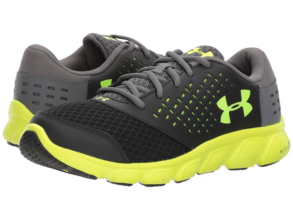 Under Armour Kids UA Rave Run (Big Kid) (Black/High Vis Yellow/Graphite) Boys Shoes