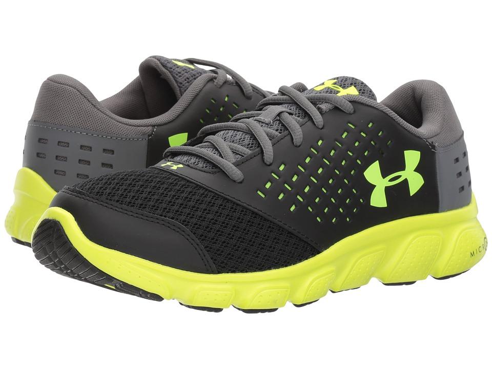 Under Armour Kids UA Rave Run (Big Kid) (Black/High Vis Yellow/Graphite) Boys Shoes