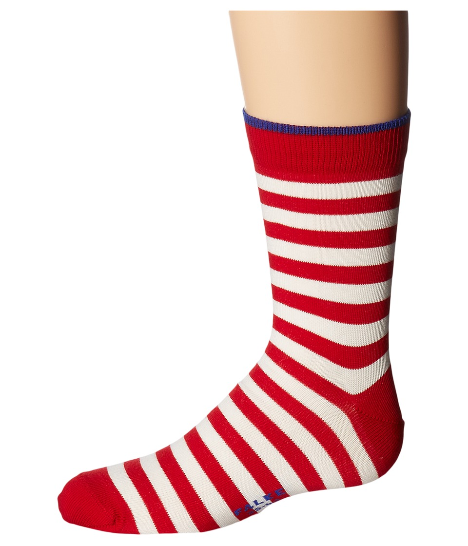 Falke - Double Stripe Socks (Toddler/Little Kid/Big Kid) (Red Pepper/Cobalt) Crew Cut Socks Shoes
