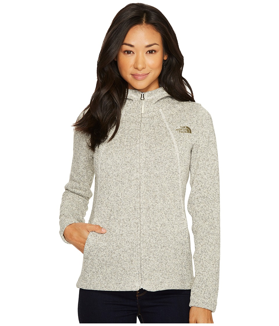 The North Face Crescent Full Zip Hoodie (Vintage White Heather/Burnt Olive Green) Women