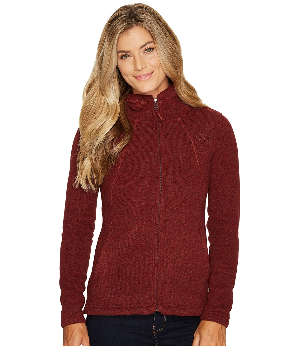 North Face Crescent Full Zip Hoodie (Barolo Red Heather) ...