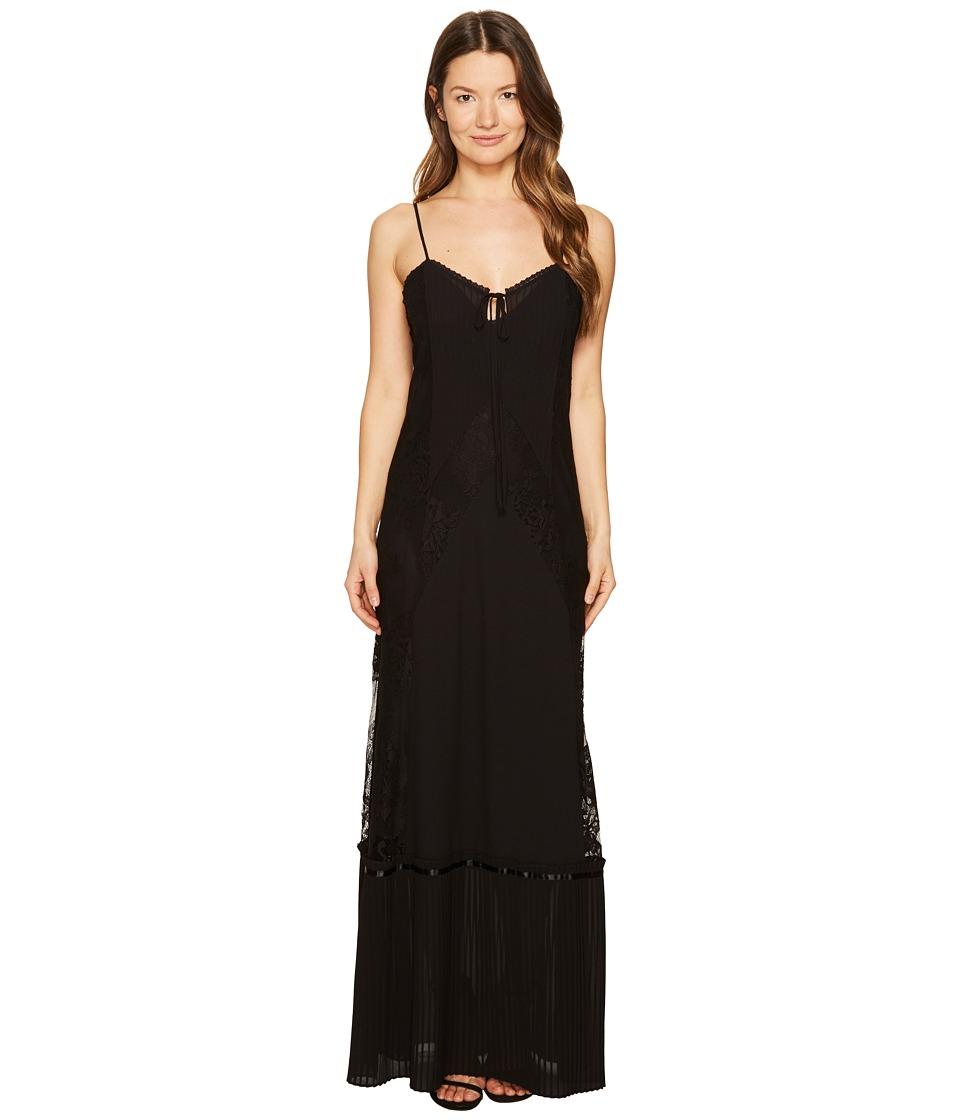 McQ Long Lace Slip Dress (Black) Women