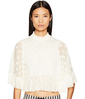McQ - Smocked Ruffle Top