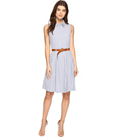 Tahari by ASL - Linen Stripe Dress with Belt