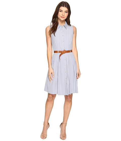 Tahari by ASL Linen Stripe Dress with Belt