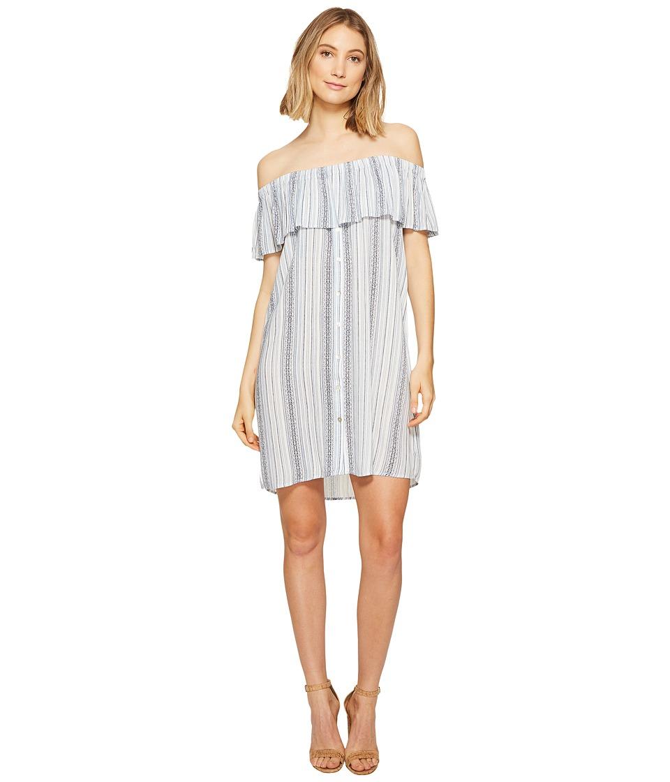 B Collection by Bobeau Rosie Off the Shoulder Dress (Blue Stripe) Women