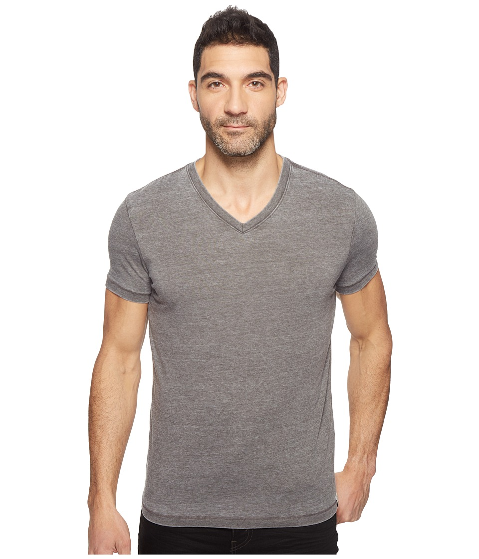 Lucky Brand Burnout V-Neck Tee (Black Mountain) Men