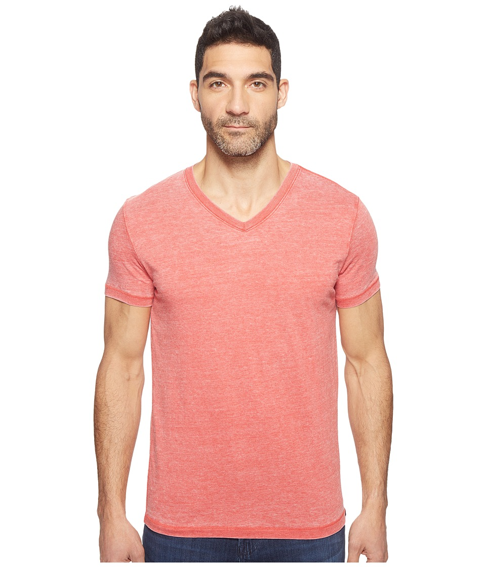Lucky Brand Burnout V-Neck Tee (Pompeian Red) Men