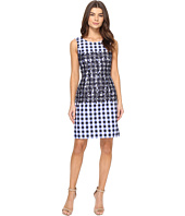 Tahari by ASL - Gingham Sheath with Lace Detail