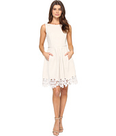 Tahari by ASL - Linen Fit and Flare with Embroidered Hem