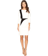 Tahari by ASL - Sleeved Sheath Dress with Contrast Panels