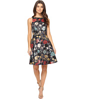 Tahari by ASL - Metallic Floral Jacquard Fit and Flare Dress