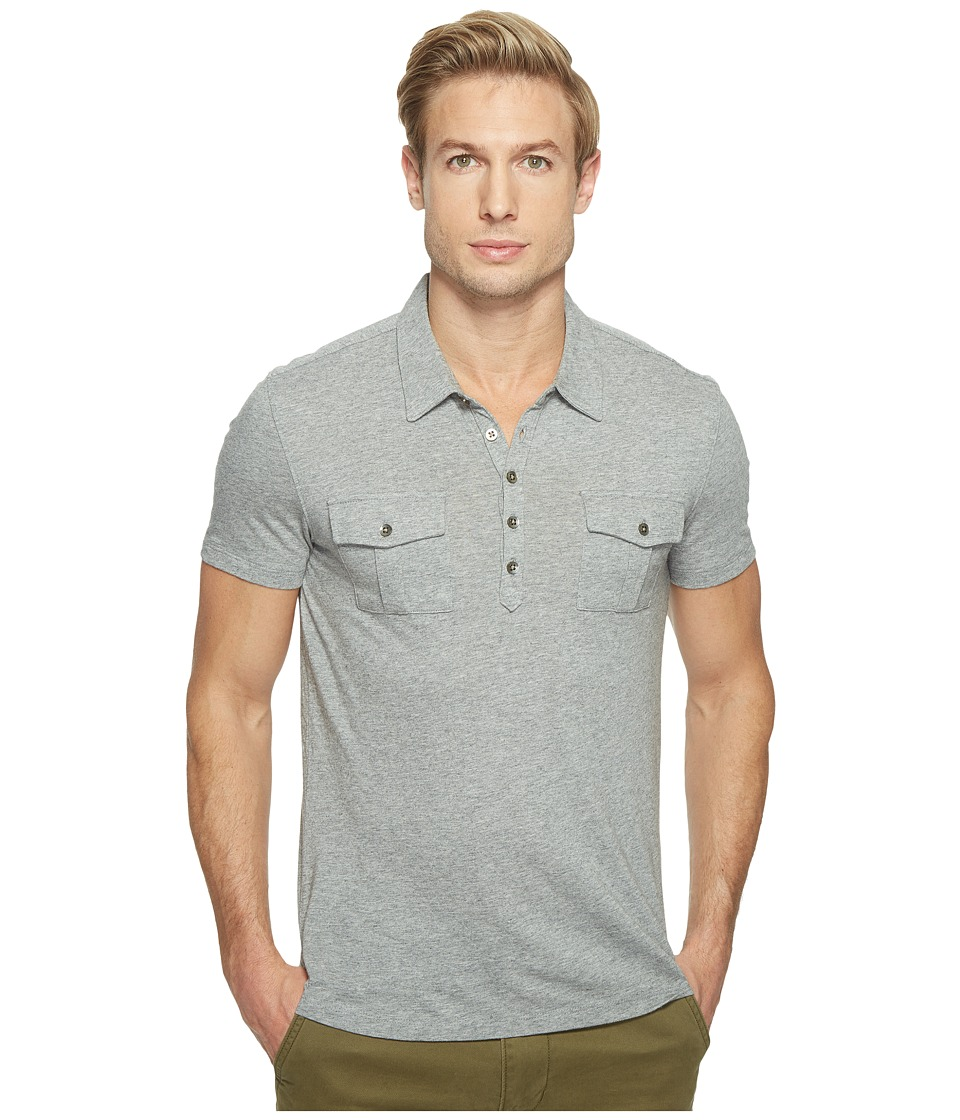 John Varvatos Star U.S.A. John Varvatos Star U.S.A. - Short Sleeve Soft Collar Knit Polo with Elongated Placket and Chest Pockets K2901T1L