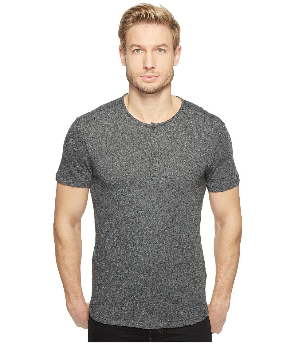 John Varvatos Star U.S.A. - Short Sleeve Knit Henley with Vertical Pickstitch Details K2943T1B