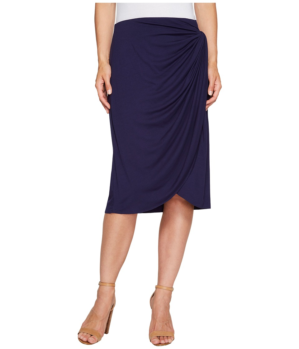 B Collection by Bobeau Reiley Side Gather Skirt (Navy) Women