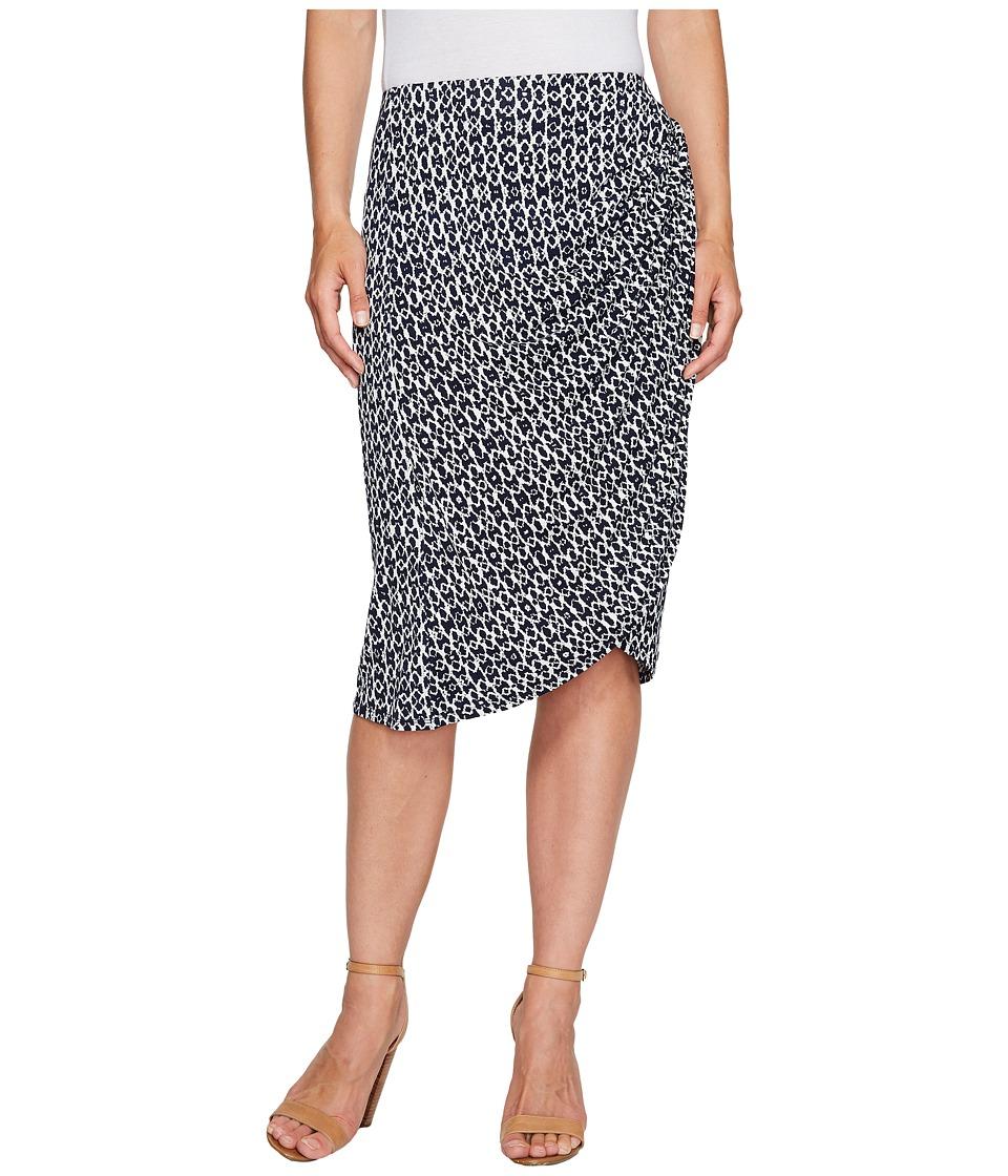 B Collection by Bobeau Reiley Side Gather Skirt (Navy Ikat) Women