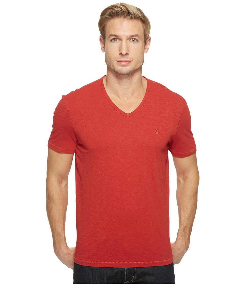 John Varvatos Star U.S.A. - Slub Short Sleeve Peace V-Neck with Peace Sign Chest Embroidery K3037T1B