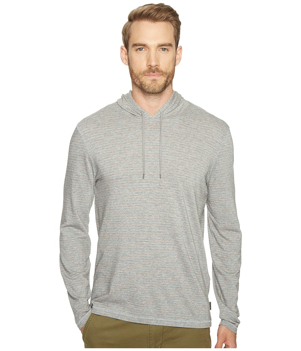 John Varvatos Star U.S.A. - Striped Long Sleeve Pullover Knit Hoodie with Vertical Pickstitch Detail and Drawcord K3039T1B