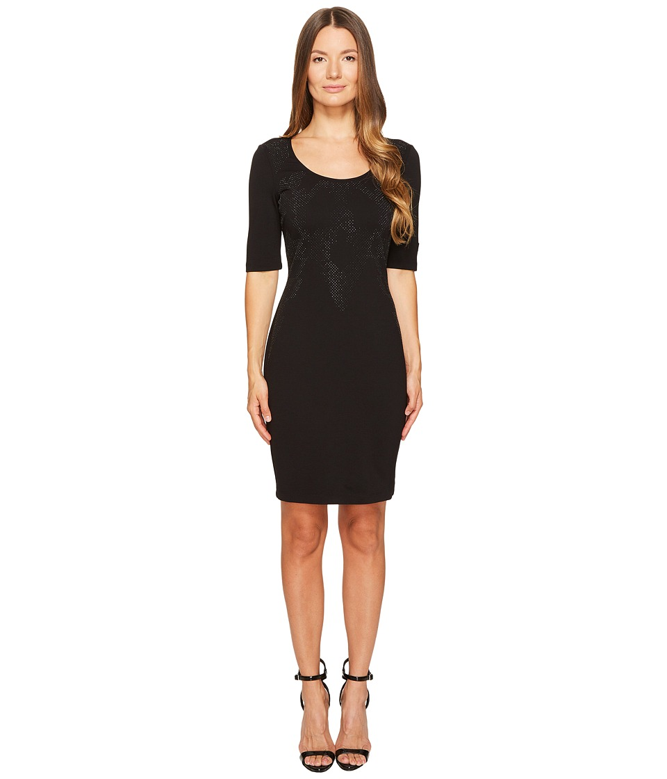Versace Jeans 3/4 Sleeve Scoop Neck Dress (Nero) Women