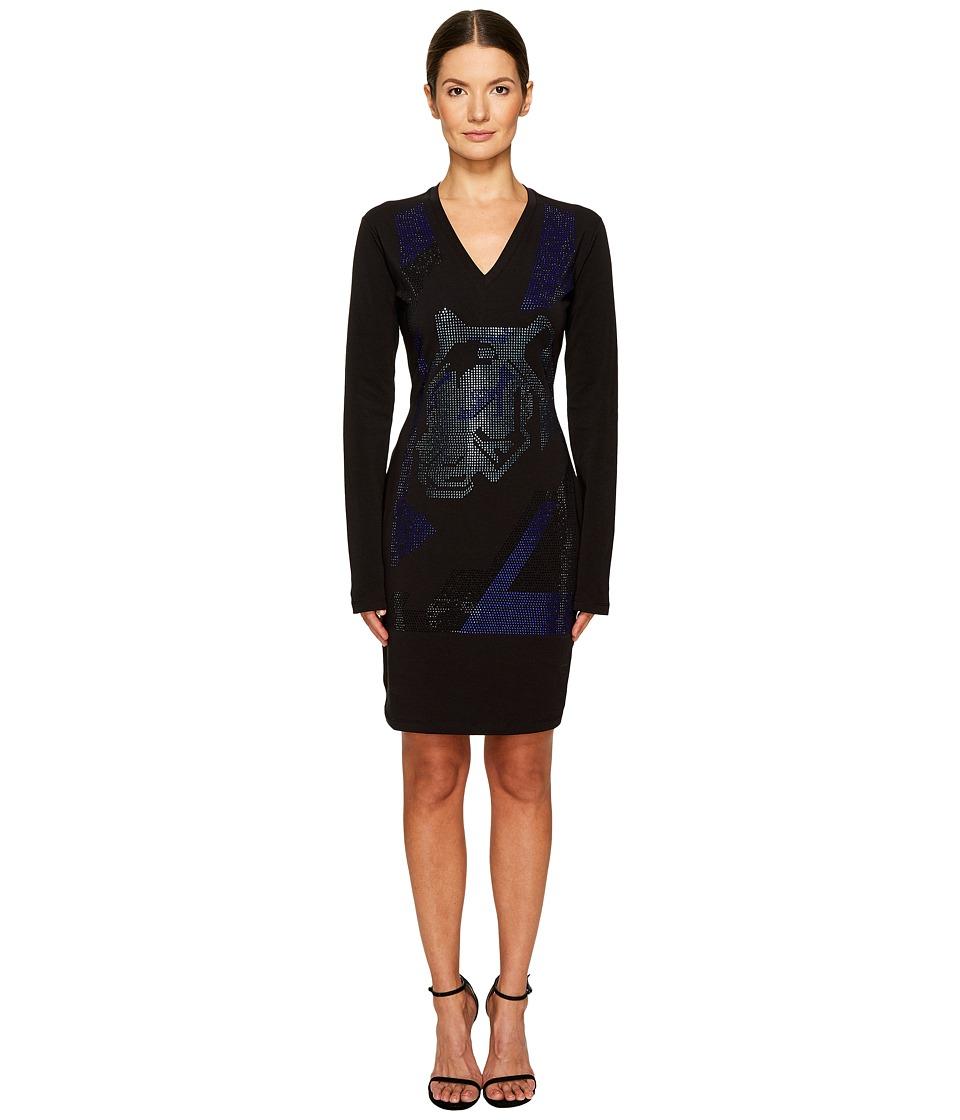 Versace Jeans Long Sleeve V-Neck Printed Dress (Nero) Women