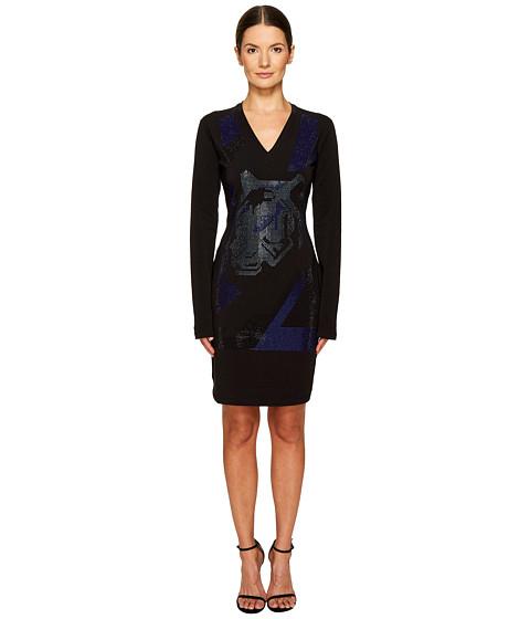 Versace Jeans Long Sleeve V-Neck Printed Dress
