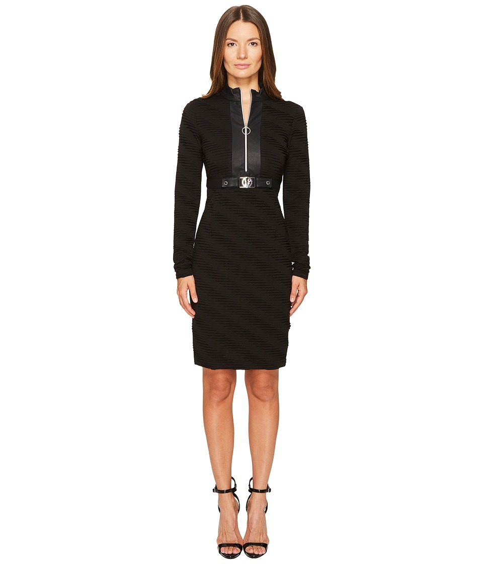 Versace Jeans Belted Zip Front Long Sleeve Dress (Nero) Women
