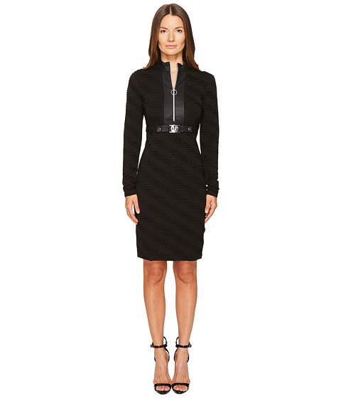 Versace Jeans Belted Zip Front Long Sleeve Dress