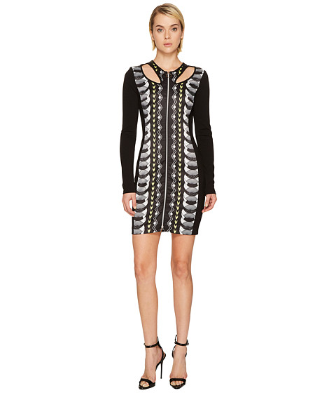 Versace Jeans Cut Out Printed Long Sleeve Dress