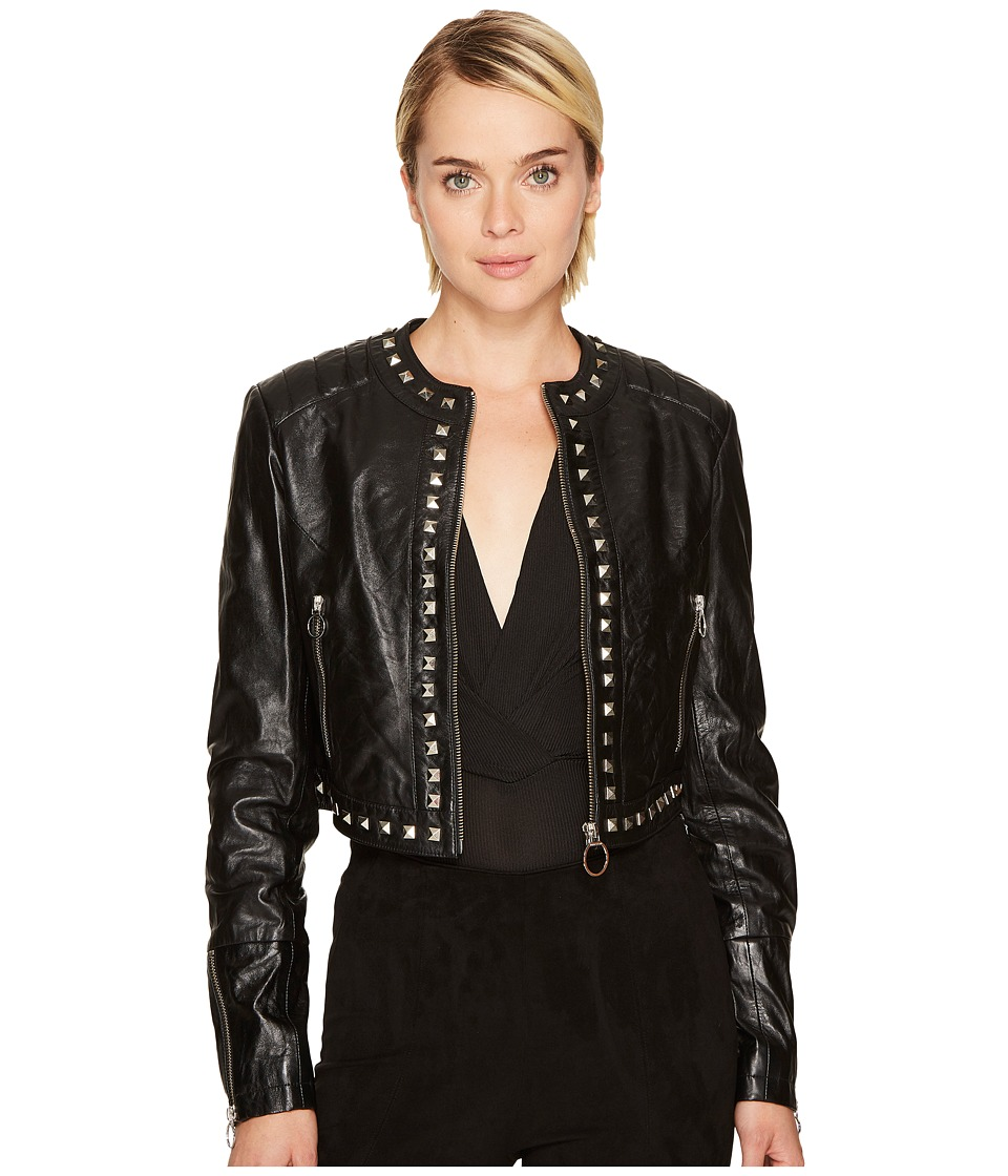 Versace Jeans - Embellished Leather Jacket (Nero) Womens Coat