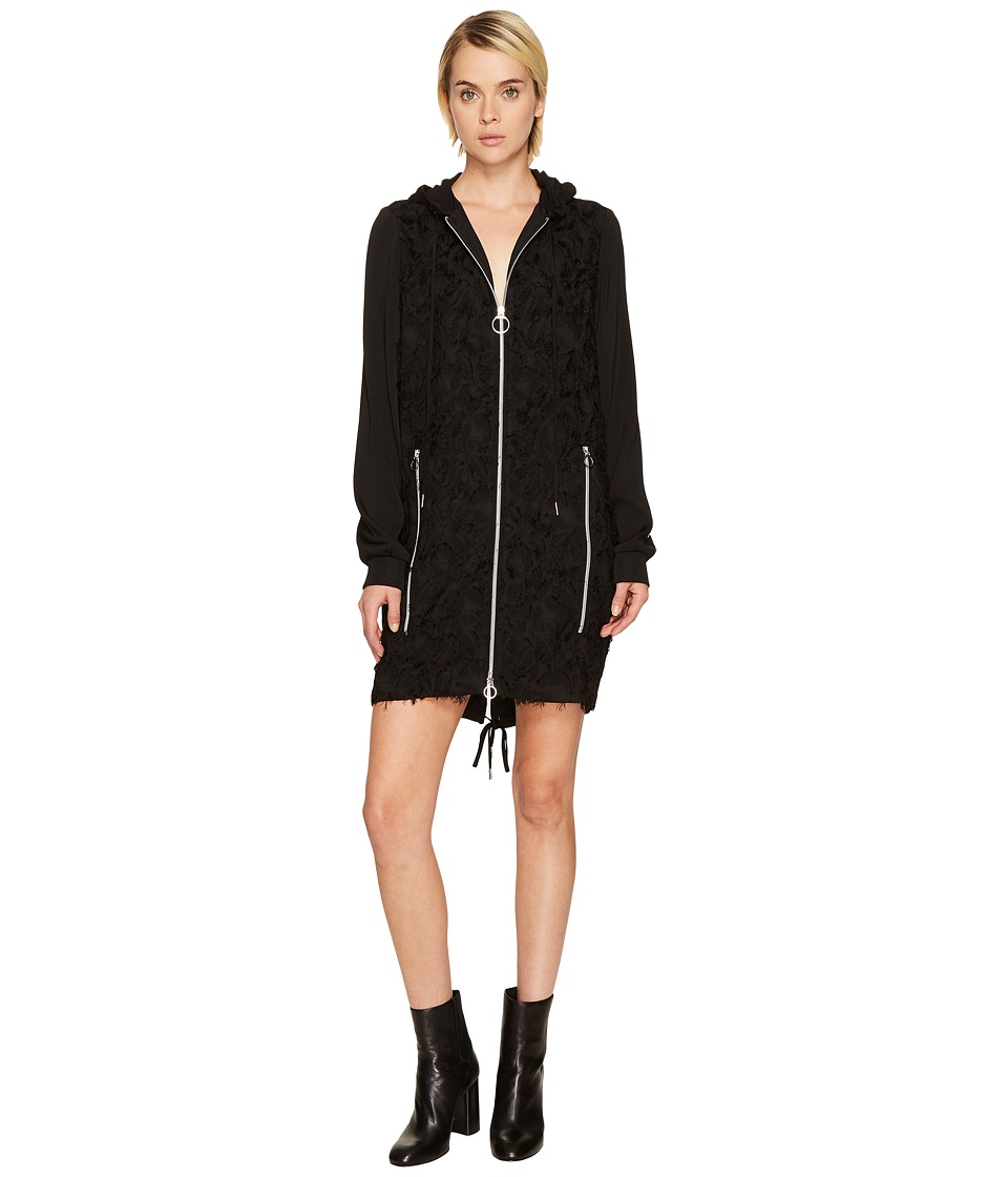 Versace Jeans Zip Front Hooded Dress (Nero) Women