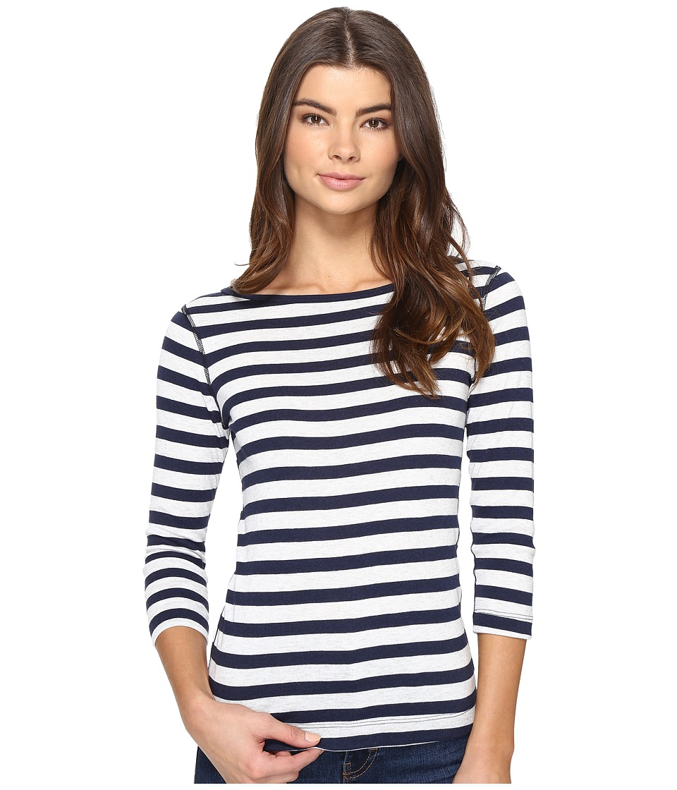 Three Dots Stripe 3/4 Sleeve British Tee (Coastal Stripe) Women