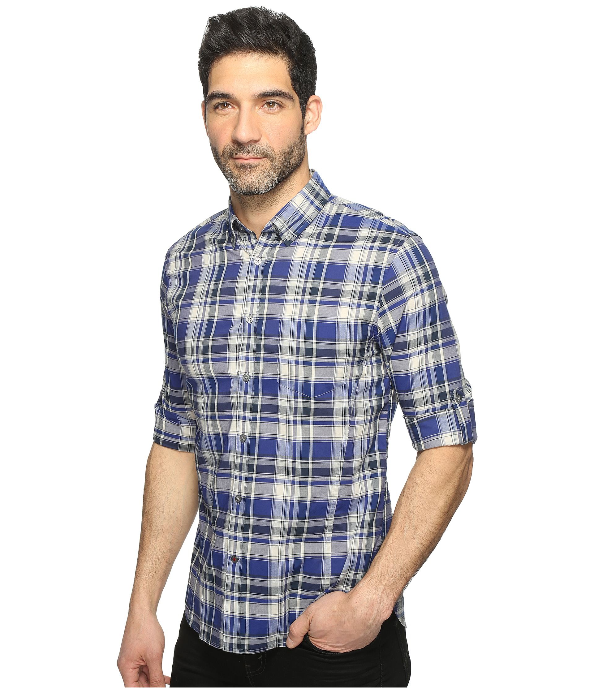 John varvatos star u s a mitchell slim fit button down for Button up collared sport shirts