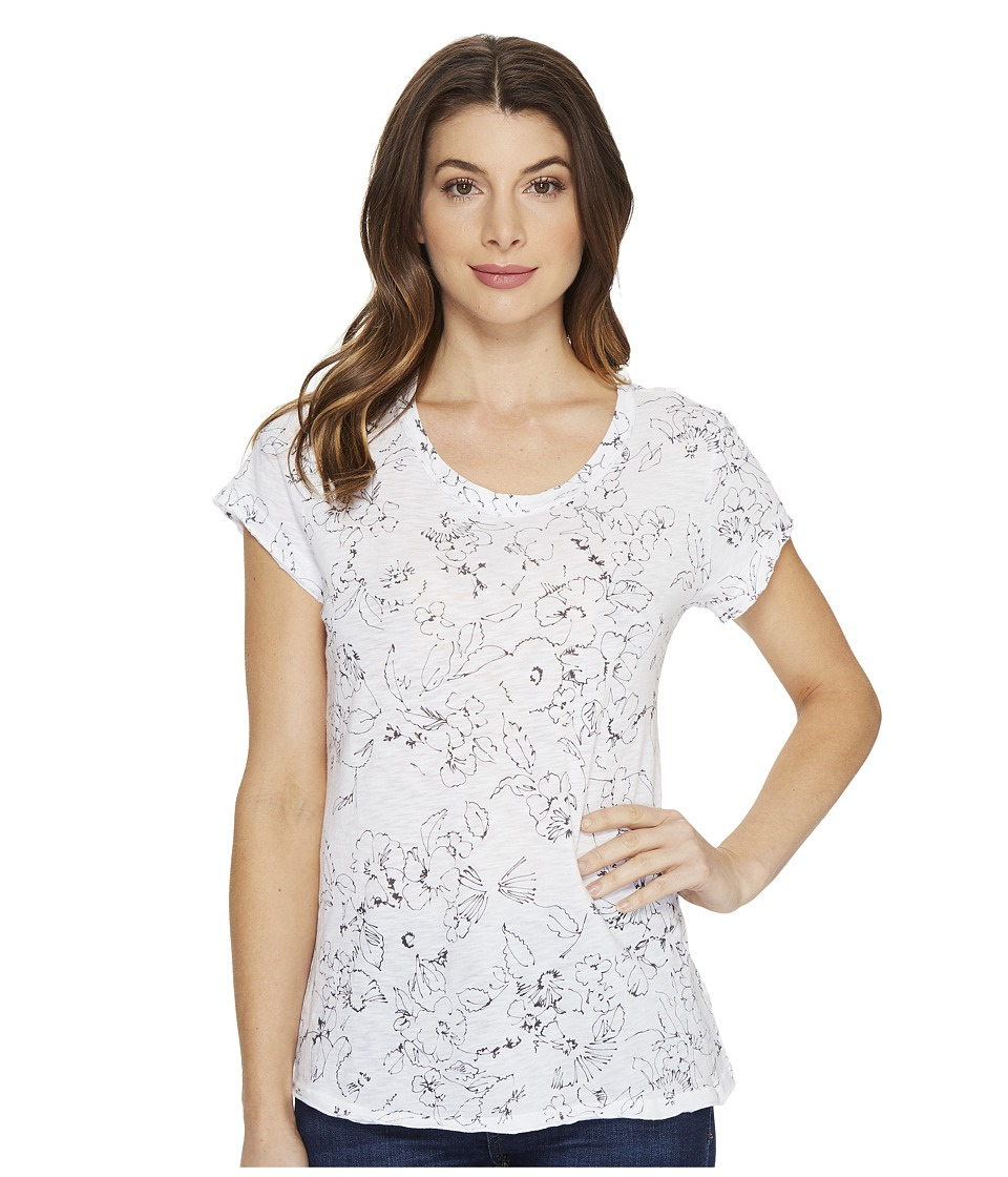 Michael Stars Floral Print Short Sleeve Crew Neck Tee (White) Women