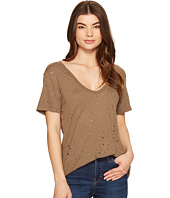 Michael Stars - Ripped Textured Jersey Short Sleeve V-Neck