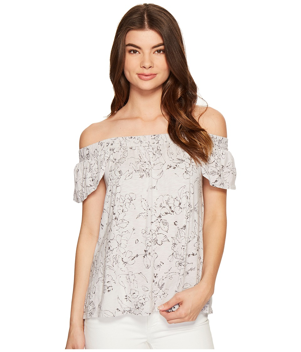 Michael Stars Floral Print Off the Shoulder Tee (Crescent) Women