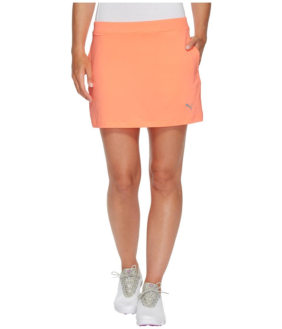 PUMA Golf Solid Knit Skirt (NRGY Peach) Women