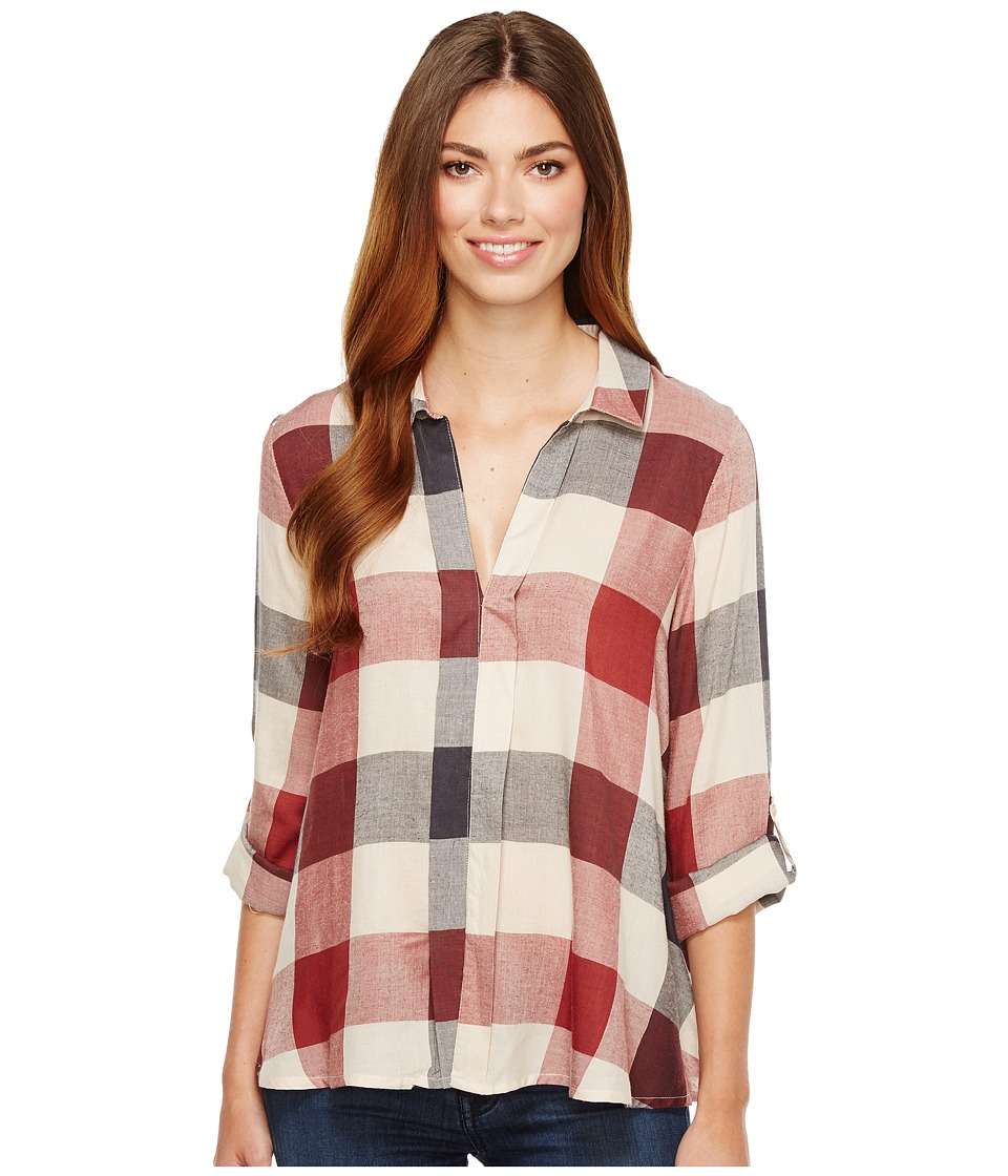 B Collection by Bobeau - Woven Plaid Blouse (Navy Plaid) Womens Blouse