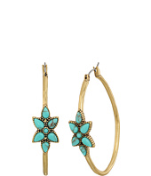 Lucky Brand - Turquiose Flower Hoop Earrings