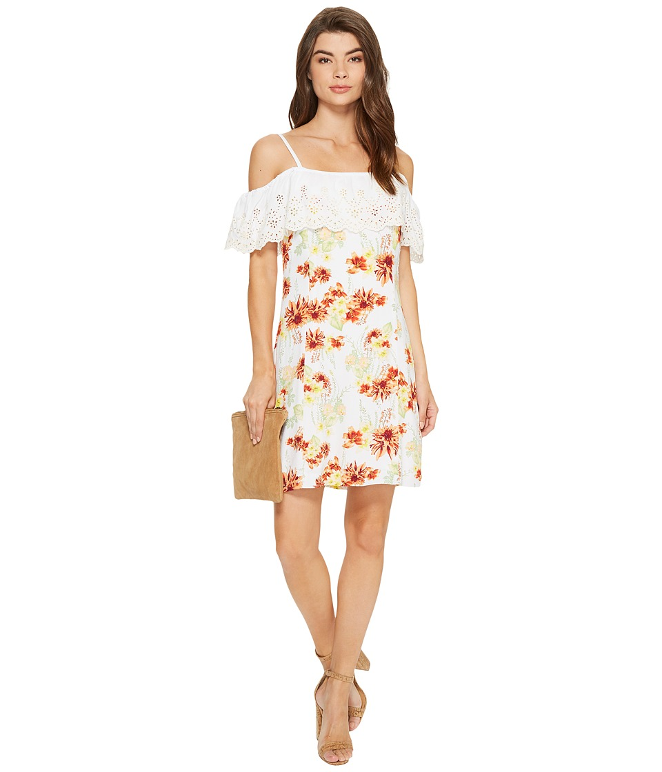 kensie Botanical Floral Cold Shoulder Dress KS7K7200 (White Combo) Women
