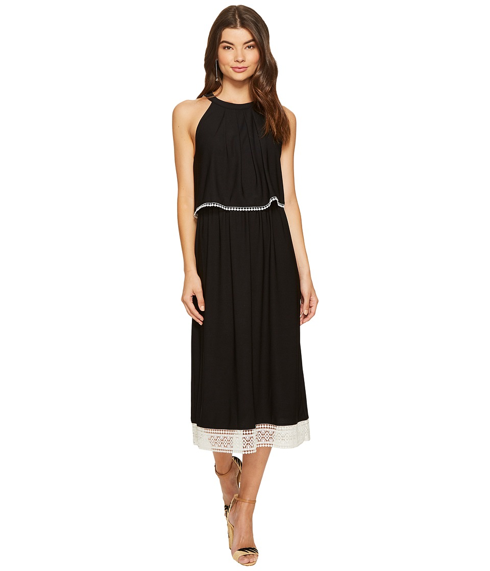 kensie Slinky Knit Midi Dress KS7K7991 (Black Combo) Women