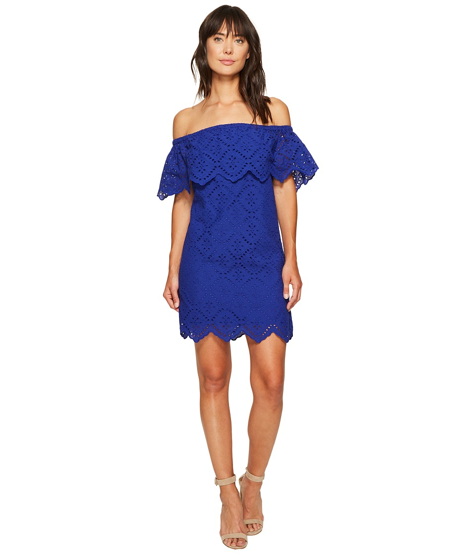 kensie Petal Eyelet Off Shoulder Dress KS6K993S (Dark Sapphire) Women