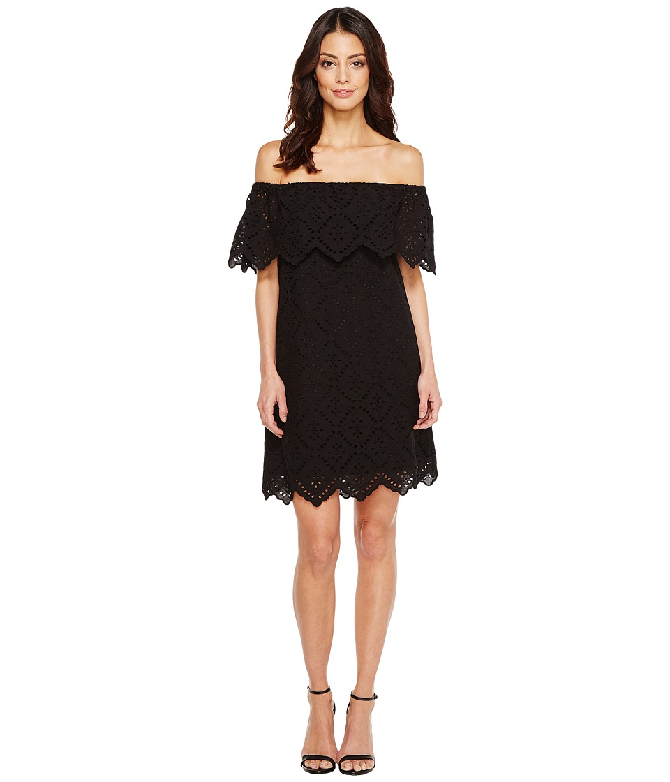 kensie Petal Eyelet Off Shoulder Dress KS6K993S (Black) Women