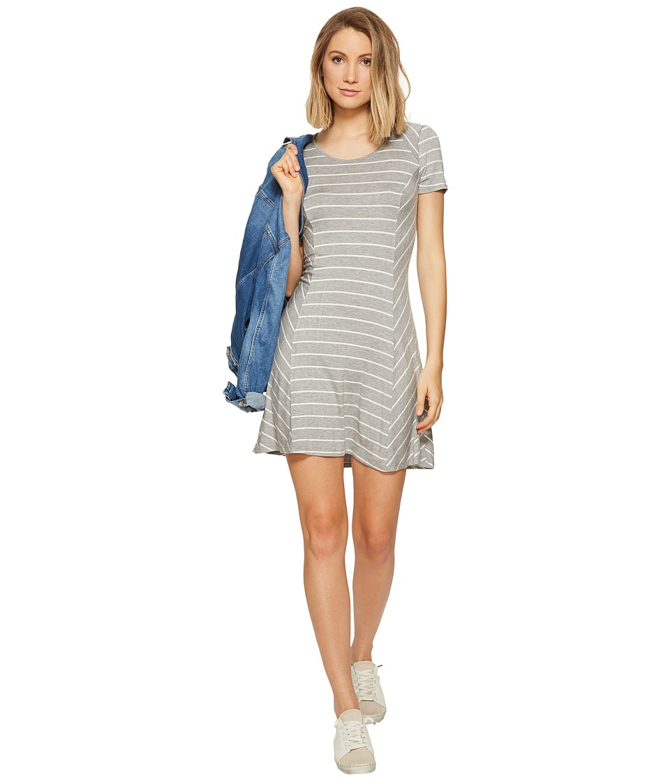 kensie Striped Lightweight Viscose Spandex Dress KS6K7976 (Heather Grey Combo) Women