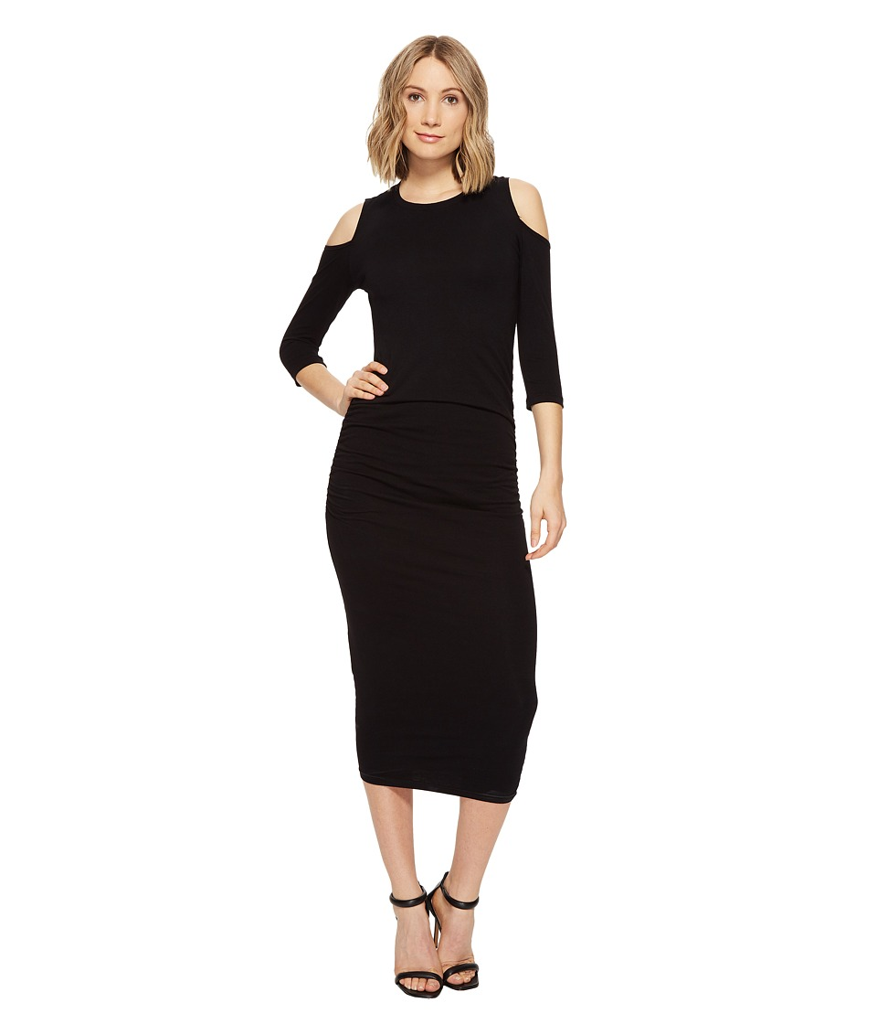 Michael Stars Cold Shoulder Midi Dress w/ Shirring (Black) Women