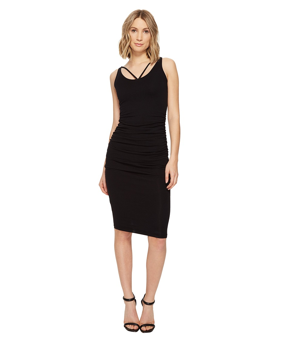 Michael Stars Front To Back Midi Dress w/ Shirring (Black) Women