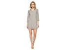 Linen 3/4 Sleeve Dress w/ Frayed Edges