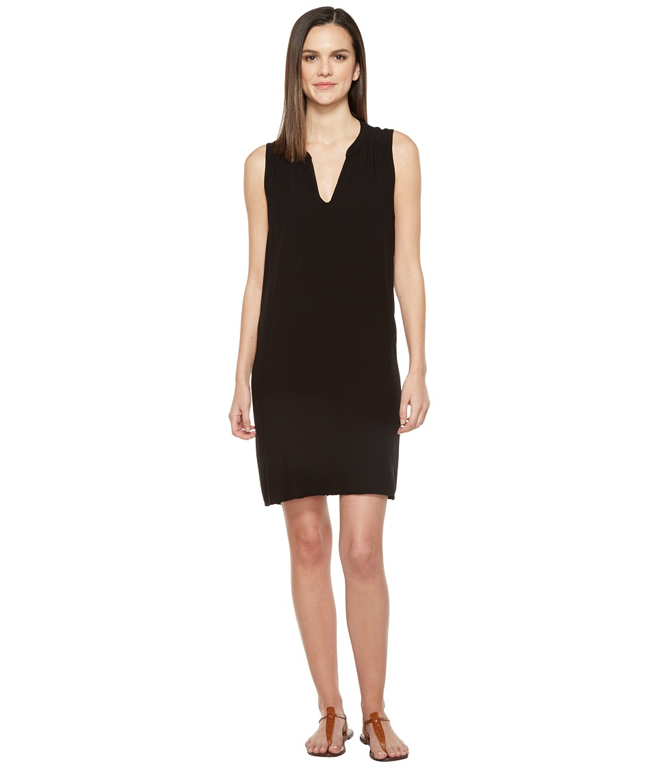 Michael Stars Modern Rayon Sleeveless V-Neck Dress (Black) Women